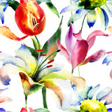 Безшовные обои с цветками лилии и тюльпанов Стоковые Изображения