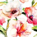 Безшовные обои с цветками лилии Стоковое Изображение