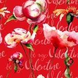 Безшовные обои с цветками пиона и название моя валентинка Стоковые Фотографии RF