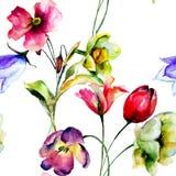 Безшовные обои с цветками тюльпана и Narcissus Стоковые Фото