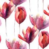Безшовные обои с цветками тюльпанов Стоковая Фотография