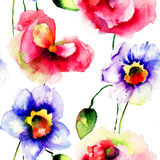Безшовные обои с цветками Narcissus и мака Стоковые Фото