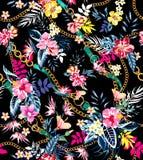 Безшовные покрашенные тропические цветки с поясами и цепями готовыми для печати ткани; Ретро гавайский стиль флористический бесплатная иллюстрация