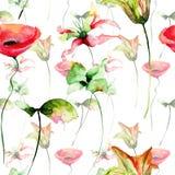 Безшовные полевые цветки обоев Стоковые Фотографии RF