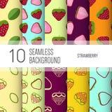 10 безшовные предпосылки или картин с плодоовощ Стоковые Изображения RF