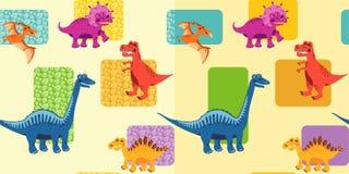Безшовные предпосылки с динозаврами Стоковые Фото