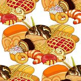 Безшовные продукты хлебопекарни картины в ассортименте Illus вектора Стоковое Изображение