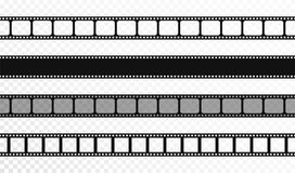 Безшовные прокладки фильма на прозрачной предпосылке Винтажная лента кино и фото Ретро прокладки фильма иллюстрация штока