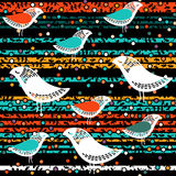 Безшовные птицы с цветком на предпосылке нашивки Стоковые Фотографии RF