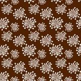 Безшовные ретро цветки над коричневым цветом иллюстрация вектора