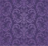 Безшовные роскошные фиолетовые флористические обои штофа Стоковые Изображения