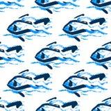 Безшовные рыбы картины, нарисованная рука Стоковые Изображения RF