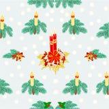 Безшовные свеча рождества текстуры и вектор снега Стоковые Изображения RF