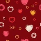 Безшовные сердца картина, эскиз руки вычерченный, иллюстрация вектора Любовь Романтичная предпосылка любов в стиле doodle изолиро иллюстрация штока