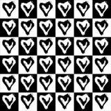 Безшовные сердца картины в клетках Стоковая Фотография RF