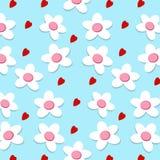 Безшовные сердце и цветок на голубой предпосылке Стоковые Фотографии RF
