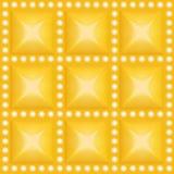 Безшовные стержни металла золота в квадрате, окруженном кругами Стоковое Фото