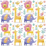 Безшовные слоны картины, лев, жираф, птицы, заводы, джунгли, цветки Стоковая Фотография