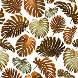 Безшовные тропические джунгли выходят предпосылка Стоковое Изображение RF