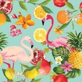 Безшовные тропические плодоовощи и картина фламинго иллюстрация вектора