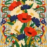 Безшовные флористические обои в стиле nouveau искусства Стоковое Изображение RF