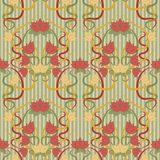 Безшовные флористические обои в стиле nouveau искусства Стоковое Изображение