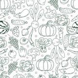 Безшовные фрукты и овощи картины вектора Стоковые Изображения RF
