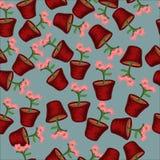 Безшовные цветки картины в баках Стоковые Фото