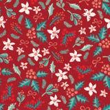 Безшовные цветки, омела и ягода рождества vector картина бесплатная иллюстрация