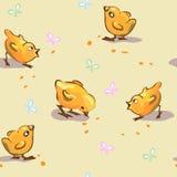 Безшовные цыплята и бабочки Стоковое Фото