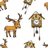 Безшовные часы с кукушкой картины, олень С Рождеством Христовым или xmas, собрание Нового Года Украшение зимнего отдыха выгравиро Стоковая Фотография RF