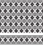 Безшовные черно-белые геометрические этнические картина и граница Стоковая Фотография