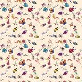 Безшовные чертежи ` s детей предпосылки насекомых Стоковое Изображение