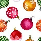 Безшовные шарики рождества watercolour картины на белой предпосылке Улучшите для предпосылок, текстур, упаковочной бумаги, картин иллюстрация штока