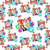 Безшовные шарики рождества картины и усмехаться Санта Клауса вектор иллюстрация штока