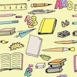 Безшовные школьные принадлежности картины Стоковое Изображение