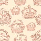 Безшовные яблоки корзины Стоковые Изображения RF
