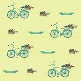 Безшовные bycicle witn картины акварели и корзина овощей иллюстрация штока