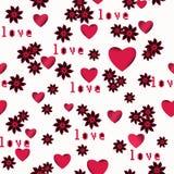 Безшовный абстрактный цветочный узор с красными сердцами, белая предпосылка, Стоковая Фотография