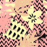 Безшовный абстрактный цветочный узор с ходом щетки выходит и цветет на предпосылке зигзага пинка и черноты скандинавско Стоковое Изображение RF