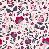 Безшовный абстрактный handdrawn цветочный узор Стоковое Изображение