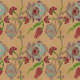 Безшовный азиатский чертеж карандаша орнамента цветка Стоковая Фотография