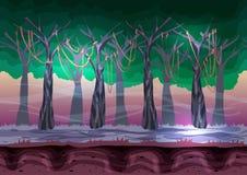 Безшовный ландшафт вектора шаржа с отделенными слоями для игры и анимации Стоковое Фото