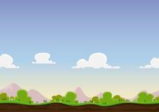 Безшовный ландшафт весны иллюстрация вектора