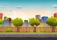 Безшовный ландшафт города улицы для игры Ui иллюстрация вектора