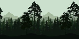 Безшовный ландшафт, деревья и горы Стоковая Фотография RF