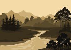 Безшовный ландшафт, деревья, река и горы Стоковая Фотография RF
