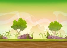 Безшовный ландшафт леса для игры Ui Стоковое Изображение RF