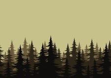 Безшовный ландшафт, лес, силуэты Стоковые Изображения
