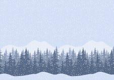 Безшовный ландшафт зимы с елями Стоковые Фото